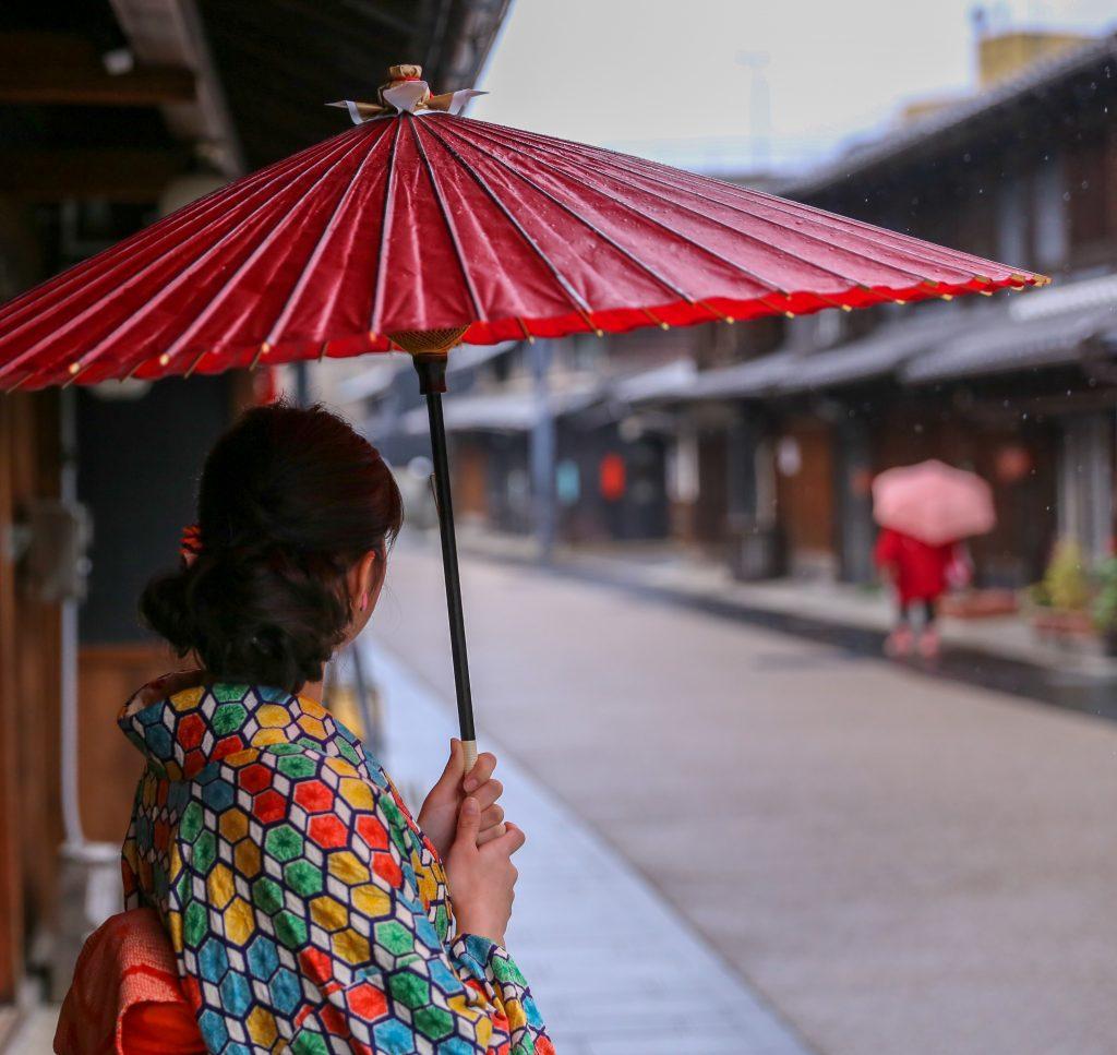 雨の日、和傘