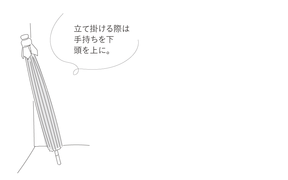 和傘の置き方