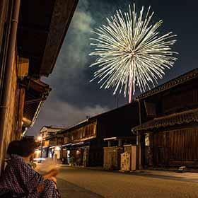長良川花火大会を見物