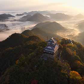 秋の稲葉山城(空撮)